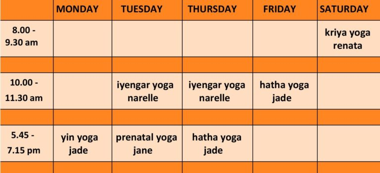 2019 Broulee Yoga Shed Timetable