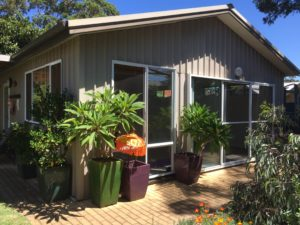 yoga shed front and frangipanis