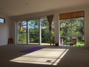 inside broulee yoga shed sun